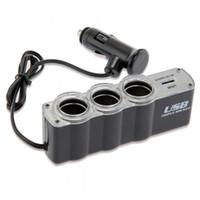 Wholesale Triple Cigarette Lighter Socket - Vehicle Black Cigarette Lighter Socket Splitter Triple Plug USB Power Adapter
