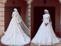vestidos de noiva muçulmanos venda por atacado-Incrível Rendas Muçulmanos Vestidos de Casamento 2017 Gola Alta Manga Comprida A Linha Branca De Noiva Vestidos De Trem Da Varredura Vestidos De Casamento Vestidos Feitos Sob Encomenda