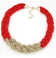 Wholesale Rice Plants - New Arrival Women Golden Rice beads Bib Statement Necklace Lady Jewelry Chokers Necklace For Party Giving Gifts Brand Design Christmas