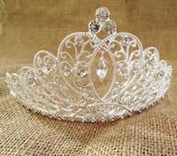 Wholesale Crystal Flower Heads - Bridal Hair Accessories Forehead Flower Crown Wedding Head Jewlery Bride Headpiece Clip Rhinestone Headband Pieces Tiaras