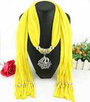 Wholesale Cheap Peacock Necklaces - Newest Cheap Fashion Lady Scarf Direct Factory Rhinestones Peacock Pendant Scarf Necklace Winter Peafowl Scarf Women Neckerchief