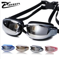 Wholesale Uv Gel Pcs - Wholesale 5 Pieces Start Sale Wholesale Fashion Adult Unisex Swimming Goggles Gold-plated Silica Gel Frame Waterproof UV HD