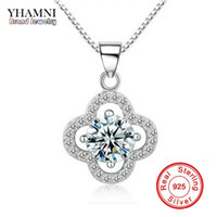 Wholesale clover shaped necklaces resale online - YHAMNI Fine Jewelry Solid Silver Necklace Clover Shape Set ct SONA CZ Diamond Pendant Necklace For Women Wedding Jewelry Y