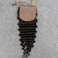 ingrosso chiusura svizzera a onda profonda-Chiusura a base di seta brasiliana a spillo Giubbotto profondo onda / Base tre lati in pizzo svizzero Chiusura 4x4