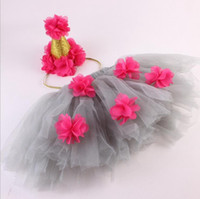 Wholesale Little Girls Tutus Wholesale - little girls tutu skirts baby girls crown headbands + flower tulle tutus skirt and tops sets newborn photography props pettiskirts wholesale