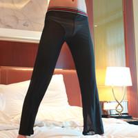 schiere yogahose großhandel-Großhandels-reizvolle Männer sehen durch lose Maschen-Sheer-Aufenthaltsraum-Hosen los-passende Yogahosen-Schlaf-Hose-Schwarz-Weiß XL