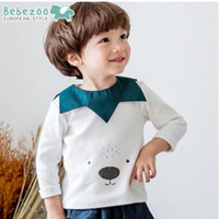 Wholesale Cartoon Bear Long Sleeved Shirt - Toddler kids T-shirts Baby boys cotton cartoon bears printed Tees Infants long sleeve wavy lapel tops Kids cute clothing C2312