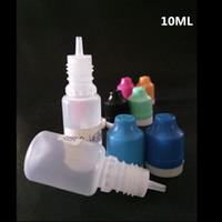 ingrosso negozi di vapore-Flacone di sicurezza per bambini da 10 ml - flaconi di ejuice in plastica morbida a goccia 10ml tappo antimanomissione a prova di bambino per ago per plastica