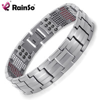 Wholesale magnetic gold titanium bracelet - Rainso Men Jewelry Healing magnetic Bangle Balance Health Bracelet Silver Titanium Bracelets Special Design for Male