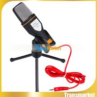Wholesale Multimedia Computer Microphone - Multimedia Sing Studio 3.5mm Condenser Wired Computer Microphone Mic+Tripod Stand for PC Laptop Notebook mikrofon SF-666