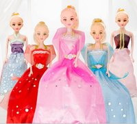 Wholesale Bjd Wedding Dress - Cute Pretty Doll Toys High Quality Movable Joint Body Princess Wedding Dress Dolls Best Gift for Girl Kids 9 Colors