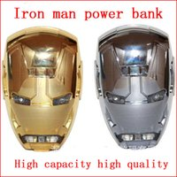 Wholesale Wholesale Iron Man Power Bank - Wholesale Free Shipping The new iron man of large capacity Mini cartoon mobile power bank supply Creative mobile phone charging double USB