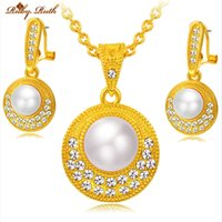 Wholesale Pearl Necklace Earing Set - Ruby.Ruth jewelry sets 18k gold plated sieraden women bridal african perhiasan necklace earing fashion crystal dubai wedding pearl set