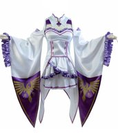 Wholesale Anime Cosplay Gowns - Cosplay Costume Emilia Outfit Gown Dress White Uniforms