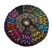 paillettes multicolores achat en gros de-Paillettes Danse Fan Creative Design Paon Pliant Fans De La Main Femmes Stage Performance Prop Multi Couleur 1 8zq C RC