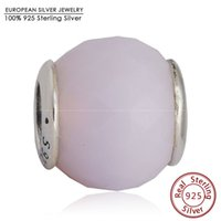 Wholesale Round Faceted Glass Stones - Opalescent CZ Petite Facets Charm Beads Fits Pandora Bracelets 925 Sterling Silver Pink Stone Faceted Bead Diy Summer Jewelry