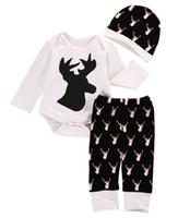 Wholesale Deer Hats Children - 2016 autumn winter Newborn Baby boys Girls suits Deer long sleeve christmas Tops Romper+Pants Legging+Hat Outfits Clothes cotton child Set