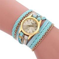 relógios de mulher venda por atacado-Luxo Weave Envoltório Pulseira Relógio Mulheres Senhora PU de Quartzo De Couro Analógico Relógios De Pulso Meninas Casual Vestido Relógios Amigo Presente de Natal relógio