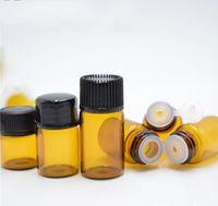 ingrosso fiale di vetro vuoto 1ml-Flaconi di vetro bottiglia vuota 1ml di bottiglia di vetro di ambra con tappo per bottiglie di olio essenziale di profumo cosmetico