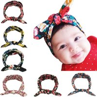 Wholesale Childrens Fabric Flower Headbands - Childrens Hair Accessories Baby Girls Bows Hairbands 6 Colors Rabbit Ear Elastic Headbands Newborn Fabric Flowers Soft Turban Head Wrap