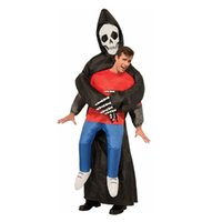 Wholesale Cheap Scary Halloween Costumes - Grim Reaper Scary Suit Inflatable Illusion Skull Adult Halloween Costumes for Women Men Cheap Ghost Skeleton Fancy Dress