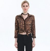 Wholesale Leopard Print Shirts For Women - High Street Blusas Femininas 2017 Women Blouse Ladies Sexy Long Sleeve Leopard Print Chiffon Blouses Blusas Tops Shirt for Women