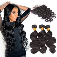 Wholesale Hair Weave Sale - 7A Brazilian Human Hair With Lace Frontal Free Middle Three Part Natural Color Body Wave Hair Weave With Lace Frontal 13X4 Hot Sale