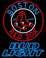 "Wholesale Red Sox Light Sign - Bud Light Boston Red Sox Neon Sign Sport Game Sign Handcrafted Real Glass Tube Light Advertisement Club PUB Display LED Sign 20""X24"""