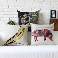 Wholesale Car Print Fabric - 45cm Andy Warhol Pop Pig Banana Pattern Cotton Linen Fabric Waist Pillow 18inch Hot Sale New Home Decorative Sofa Car Back Cushion