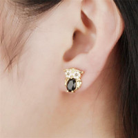 Owl Design Woman Stud Earrings Vintage 18K Gold Plated Red / Black / White Cubic Zirconia Brinco Jóias Mulheres