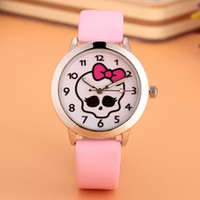 Wholesale Girls Skull Watches - Cartoon Beautiful girl skeleton skull bowknot style Color number dial children students girl's leather quartz watch