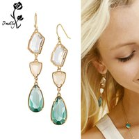 Wholesale vintage blue drop earrings - Vintage Kendra Mutil Color Flower Gold Filled Dangle Earrings Crystal Jewelry Bohemian Style Long Tassel Drop Earrings Wedding Party Jewelry
