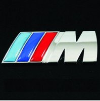 Wholesale Cheapest Wholesaler Word - Cheapest price CAR BADGE stick silver M adhesive logo Cars Decoration Stickers For BMW Sticker Metal 3D Car Sticker