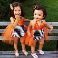 Wholesale Baby Girl Cute Costume - Cute Baby girl jumpsuit Orange Halloween costume Sequin Strap Tulle Tail Tutu Skirt Striped Backless Romper Baby girl clothe 2017 New