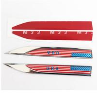 Wholesale Blade Change - 2pcs lot USA American Flag Car 3D Body Blade Sticker Car Side Fender Skirts Knife Type Sticker Badge Auto Emblems