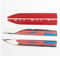2pcs / lot EUA American Flag Car 3D Body Blade Sticker Car Side Fender Saias Tipo de faca Etiqueta Badge Auto Emblems