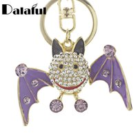 Wholesale Black Bat Pendant - beijia Lovely Smiling Bat Crystal Metal Bag Pendant Keyrings Keychains For Car key chains holder for women K178
