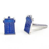 gemelos tardis al por mayor-Doctor Who TARDIS Cuff Link Azul Teléfono Booth Gemelos Joyería Clásica Película Show Jewelry Wholesale para hombre