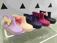 Wholesale Cute Boots For Baby Girls - Mini Melissa Shoes 2016 Summer Children Bow Rain Boots Girls Sandals Cute Girls Shoes Baby Jelly shoes For Girl Shoes 5Colors 6Pairs Lot