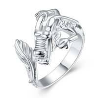 Barato Prata 925 Anéis Chineses-Chinese Dragon Ring 925 Sterling Silver Plated Jóias Aberta e Redimensionável Finger Ring Mulheres Jóias de Moda Unissex Lovely Gift