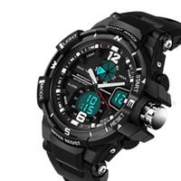 светодиодные аналоговые цифровые мужские часы оптовых-Новые многофункциональные часы для мужская смола ремешок LED цифровой аналоговый открытый водонепроницаемый военный человек Спортивные часы Марка роскошные мужские часы
