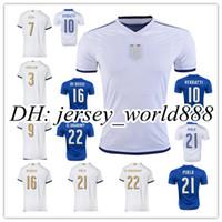 Wholesale Italy Blue Soccer Jerseys - Top Thai quality 2016 Italy Home blue Soccer jersey 2017 Italia ZAZA INSIGNE EL SHAARAWY PIRLO VERRATTI MARCHISIO Away white Football shirt