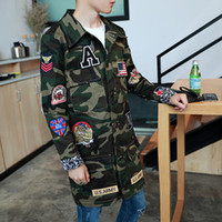 Wholesale Fall Good Quality US Army Appliques Camouflage Cargo Trench Coat Men Turn Down Collar Single Breasted Overcoat New Plus Size