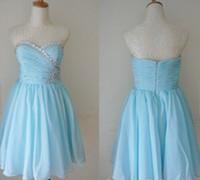 Wholesale Bridesmaid Dress 22 - 2016 Beaded Knee Length Short Bridesmaid Dress Sky Blue Chiffon A Line Formal Wedding Party Gown Custom Made 2 4 6 8 10 12 14 16 18 20 22 24