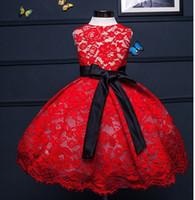 robe de fête de dentelle rouge bébé achat en gros de-Robe de mariée en dentelle rouge doux et moelleux pour les filles, tenue de fête de fête de bébé