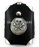 Wholesale Stainless Steel Skull Flask - Wholesale-8 oz stainless steel SKULL hip flask with bag