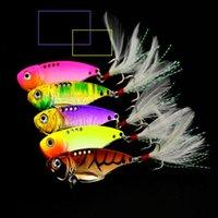 fischhaken federn großhandel-5 stücke metall fischköder mit feder bionic harten künstlichen köder wobbler pesca angelgerät haken