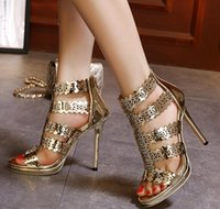 Pumps sparkly high heel shoes - Sparkly gold hollow out high heel dress sandals women party shoes ladies prom gown dress size to