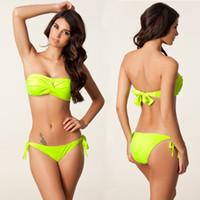Wholesale Twist Bandeau Top Bikinis - Cheap Bikini UK Bandeau Twisted Top Monokini Removable Neck Halter 2016 Push Up Victoriass Style Bandage Bikini Beachwear Bikini Tops