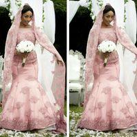 Wholesale Muslim Wedding Veil Dress - 2016 Elegant African Pink Mermaid Wedding Dresses Long Sleeve Sheer Jewel Neck Muslim Bridal Gown For Fall Winter Wedding With Free Veils